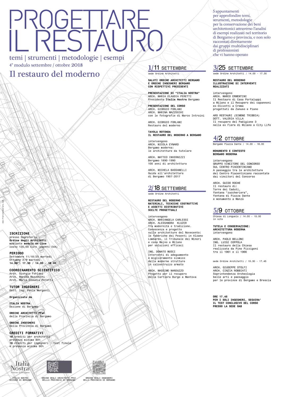 Ordine Architetti Brescia Lavoro progettare il restauro 2018 | ordine degli architetti